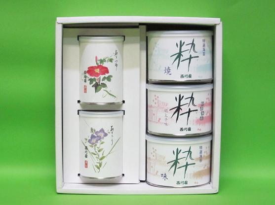 特選海苔粋3缶高級深蒸し茶2缶詰合せ